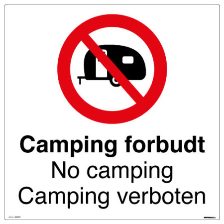 Camping forbudt skilt - No camping, Camping verboten - Ekstraskilt.no
